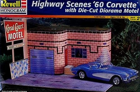 Revell Skill Level - Revell Monogram 7802 Highway Scenes 1960 Corvette with Die-Cut Diorama Motel - Plastic Model Kit - 1:25 Scale - Skill Level 2