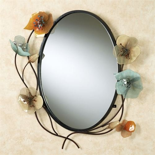 Metal Tuscany Mirror - Touch of Class Tuscany in Bloom Oval Wall Mirror Brown
