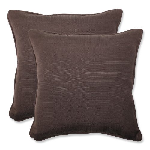 Pillow Perfect Outdoor Forsyth Chocolate Throw Pillow, 18.5-Inch, Set of 2