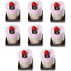 Songwol Towel Mousse Cake Shape Cotton Hand Towels Cakes Wedding Favors (Pink, 8)