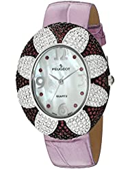 Peugeot Womens J1409PR Purple Swarovski Crystal Oval Case Purple Strap Watch