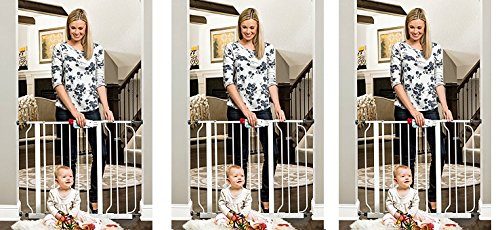 "Regalo Easy Step Walk Thru Gate, White, Fits Spaces Between 29"" to 39"" Wide (3-(Pack))"
