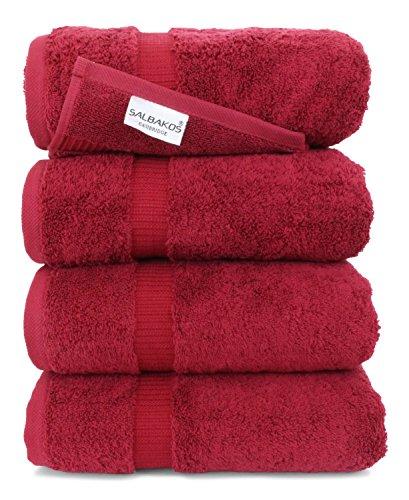 SALBAKOS Luxury Hotel & Spa Turkish Cotton 4-Piece Eco-Friendly Bath Towel Set 27 x 54 Inch, Wine (Wine And Spa)