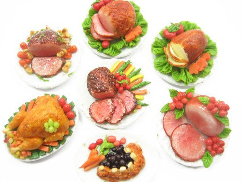Beef Roasted Tenderloin - Dolls House Miniatures Set 7 Thanksgiving Food 3.5 cm XMAS Steak Plate 9553