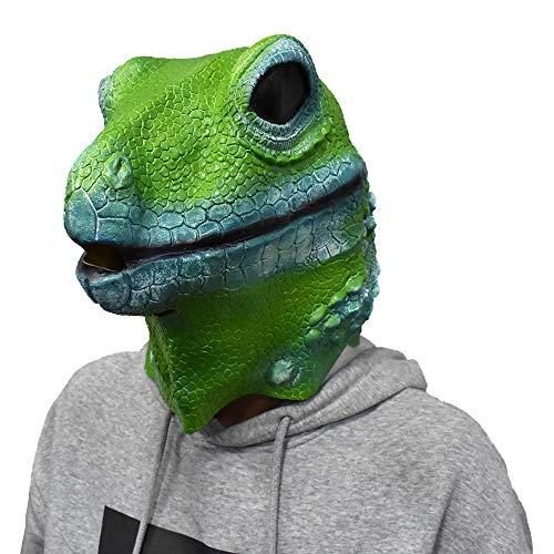 Lizard Mask Latex Iguana Animal Head Full Face Halloween Costume Disguise for Adults Green