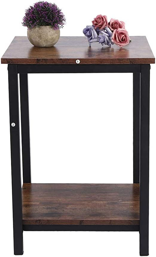 Marrone EBTOOLS Tavolini da t/è a 2 Livelli Tavolino da Salotto Tavolo Salotto da caff/è in Acciaio Legno 35 x 60 x 60 cm