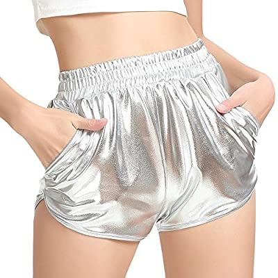 Meikosks Ladies Shiny Metallic Pants with Pockets Leggings Shorts High Waist Yoga Sport Pants at  Women鈥檚 Clothing store