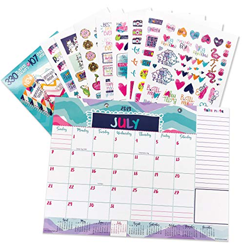 (Reminder Binder 2019-2020 Monthly Desk Calendar + Event Stickers Variety Set (Total of 330 Stickers) with Tear-Off Lists, Scheduling Tools, Bill Pay Worksheet and More (Bundle of 2 Items))
