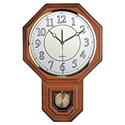 Traditional Schoolhouse Pendulum Luminous Wall Clock Chimes Hourly with Westminster Melody Made in Taiwan (PP0258-L-LW Light Wood Grain)