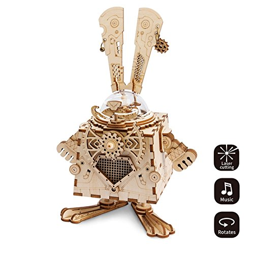 ROKR 3D Assembly Puzzle Build Your Own Wooden Rabbit Music Box Craft Kits for Kids and Adults ()