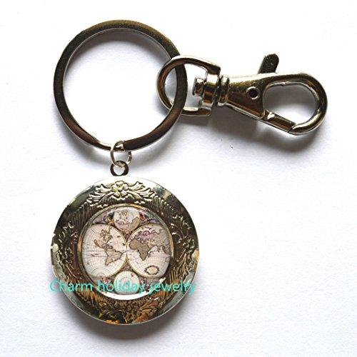 Map Locket Keychain Accessories World Travel Globe Key Chain,World Globe May Locket Key Chain Men, Boyfriend, Birthday Father's Day Gift