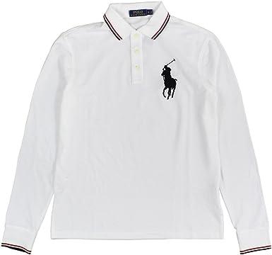 Polo Ralph Lauren Men\u0027s Long-Sleeve Mesh Big Pony Polo Shirt Large Pure  White