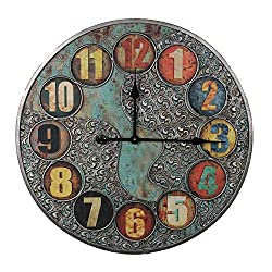 Essential Décor Entrada Collection Wall Clock, 23.6 by 23.6 by 2.1-Inch