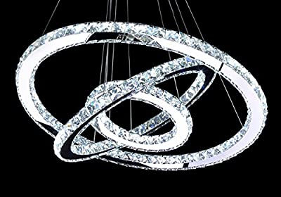 MEEROSEE Lighting Crystal Chandeliers lighting Crystal Ceiling lights Diamond Ring LED Lamp Stainless Steel Hanging Light Fixtures Adjustable Cristal LED Lustre Pendant Light