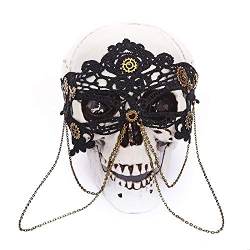Retro Steampunk Black Lace Chains Eye Mask Party Masks For Masquerade Halloween Venetian Costumes Carnival Gears Mask Gothic