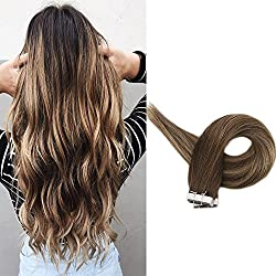 Full Shine 14 inch 100 Human Tape in Hair Extensions Balayage Highlighted Ombre Extensions Dark Brown Color #3 Fading to #24 and Highlighted #3 Througout Pu Tape Hair Extensions 20Pcs 50gram