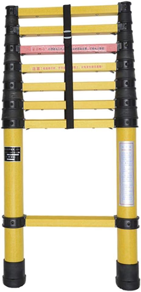 Escalera extensible Escalera telescópica Escalera de extensión no conductora de 2 m / 3 m / 4 m / 5 m Fibra de vidrio, escaleras telescópicas portátiles de servicio pesado con protección para los dedo: Amazon.es: Hogar
