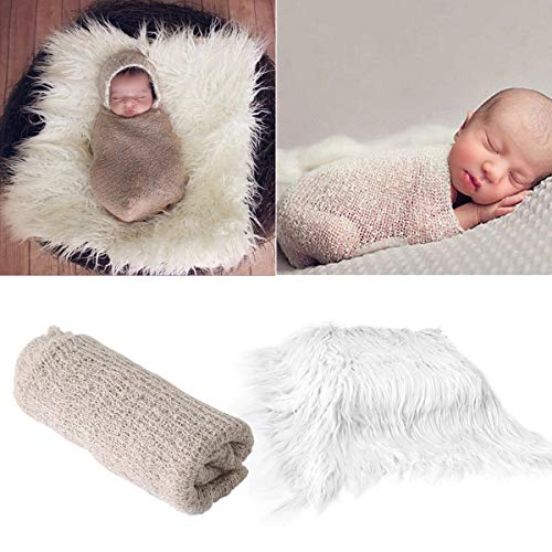 (2Pcs Baby Newborn Photo Props Wraps & Photography Mat, DIY Newborn Baby Photo Blanket Swaddle Photography Props Wraps, Infant Soft Faux Fur Photography Backdrops Mat Rug for Baby Boys Girls)