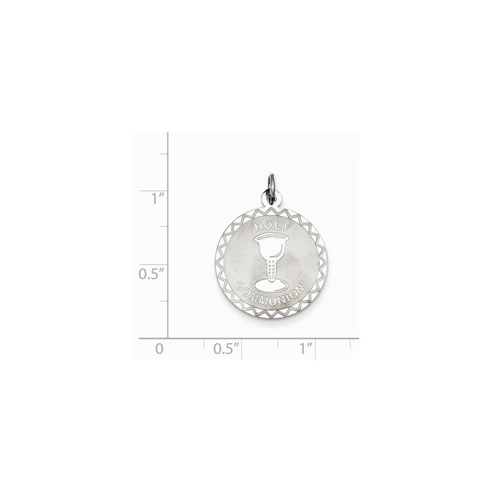 Jewel Tie 925 Sterling Silver Holy Communion Disc Pendant Charm