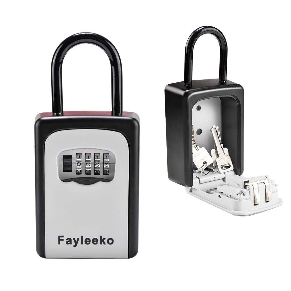 Key Lock Box 4 Digit Combination Key Storage Lock Box, Wall Mounted Portable Key Safe Security Lock Box for Office Home Garage School Realtors Spare Keys by Fayleeko