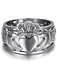Gnzoe Men | Women Stainless Steel Ring Bridal Wedding Claddagh Ring Silver
