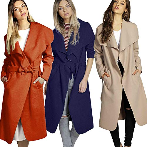 SANFASHION Hiver Medium Revers Ceinture Large Outwear Mlange Mode Kaki Cape Classique Manteau Poche Femme Automne r6w7CqxrH