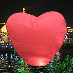 HDE Heart-Shaped Chinese Paper Wishing Lantern for Weddings, Parties, etc. (Red)