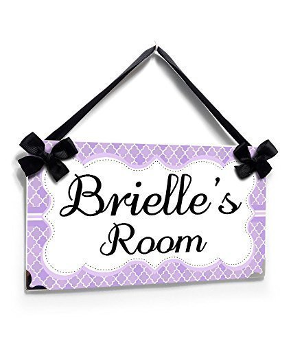 Name Plaque for Girls Bedroom Purple Moroccan Tiles with Fancy Shabby Frame