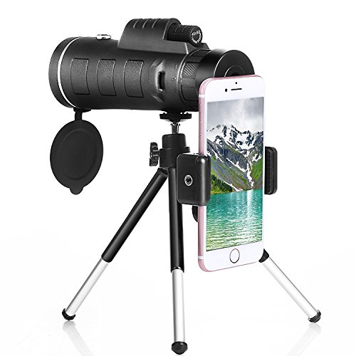 40x60 Monocular Telescope with Phone Clip and Tripod for Cell Phone for Bird Watching with iphone X, 8/8plus, 7/7plus, 6/6plus, 5/ 5s, Samsung GALAXY S8/7/6, Edge , Note, Google Pixels, LG, HTC, Sony
