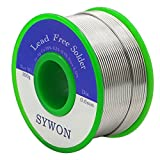 Sywon Lead Free Solder Wire Tin Reel with Rosin Core for Electric Soldering, Sn 99% Ag 0.3% Cu 0.7%, 0.6mm 100g