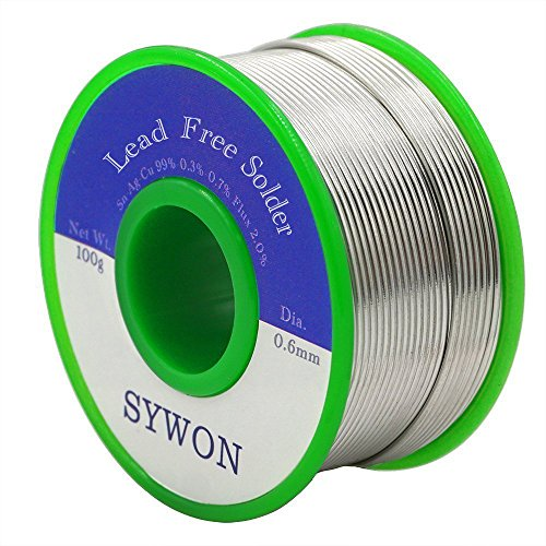 Sywon Lead Free Solder Wire Tin Reel with Rosin Core for Electric Soldering, Sn 99% Ag 0.3% Cu 0.7%, 0.6mm 100g by Sywon