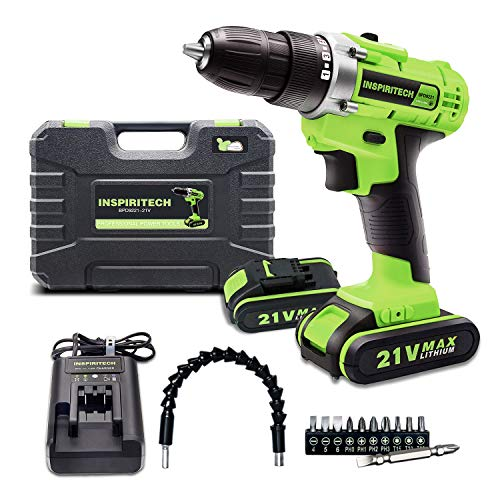 Inspiritech 21V Max Cordless Drill/Driver with 2 Lithium Ion Batteries and Charger,Variable Speed 3/8Inch Keyless Chuck 16 Position Clutch, Front LED Light,12 Accessories