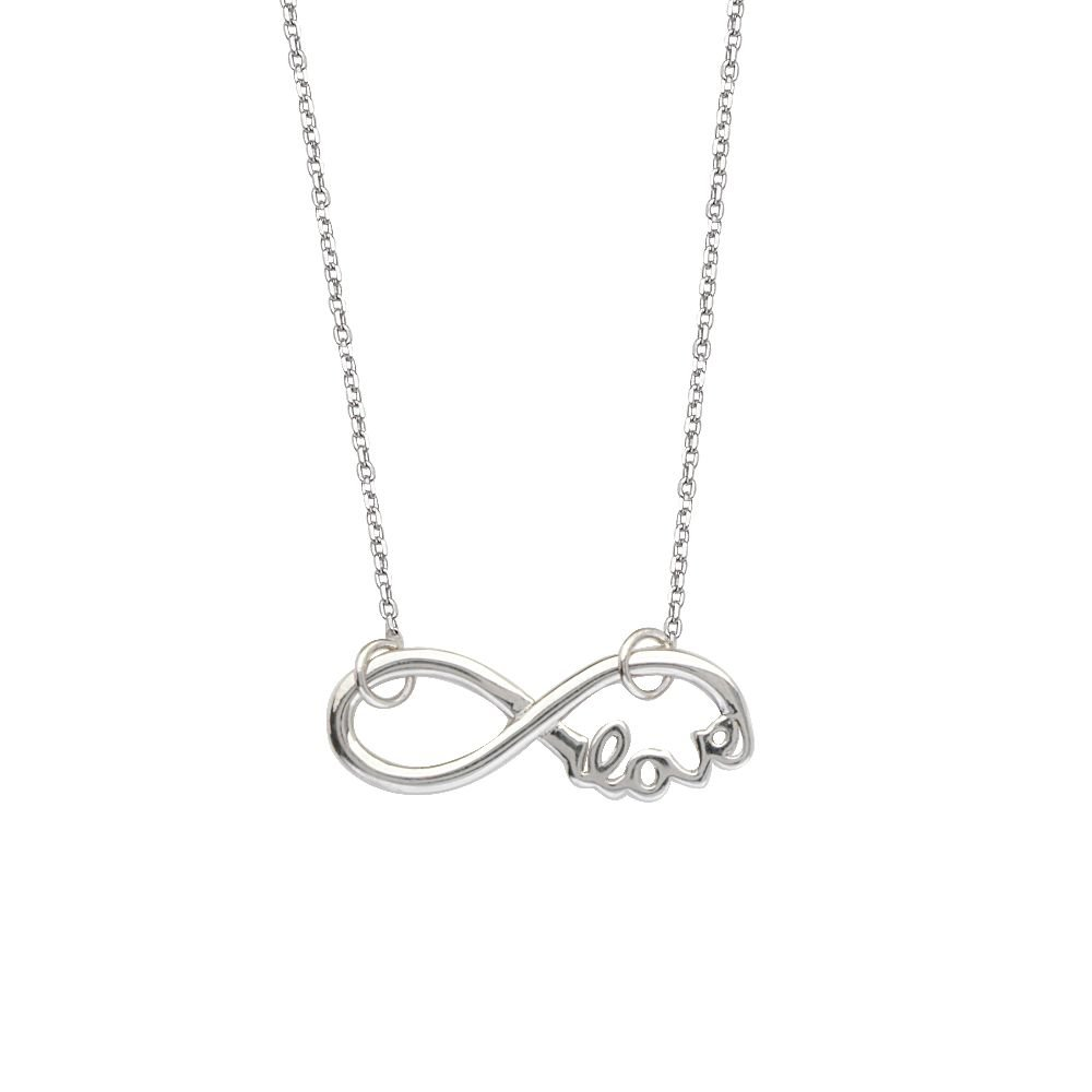 Sterling Silver East 2 West Infinity//Love Adjustable Necklace
