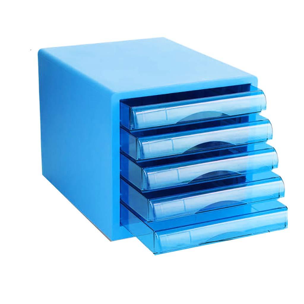 ファイルキャビネットデスクトップ収納ボックスプラスチック製引き出し5層ブルーグリーン (色 : B) B07MNZ1WJZ B