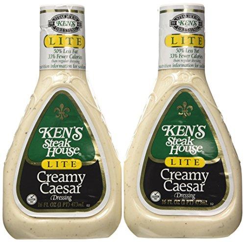 Ken's Steakhouse LITE Creamy Caesar Dressing (Pack of 2) 16 oz Bottles