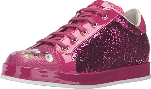 Dolce & Gabbana Kids Girl's Low Top Sequin/Floral Sneaker (Little Kid/Big Kid) Fuchsia Shoe (Gabbana Dolce And Floral Top)