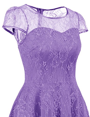 DRESSTELLS Women's Bridesmaid Dress Retro Lace Swing Party Dresses with Cap-Sleeves Purple S by DRESSTELLS (Image #4)