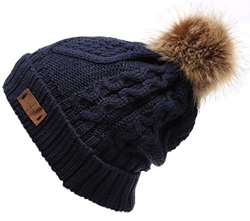 Womens Navy Hat Knit - ANGELA & WILLIAM Women's Faux Fur Pompom Fleece Lined Knitted Slouchy Beanie Hat - Navy Blue