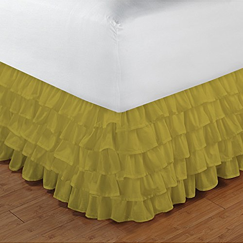 Floris Fashion Cal King 300TC 100% Egyptian Cotton Yellow Solid 1PCs Multi Ruffle Bedskirt Solid (Drop Length: 27 inches) - Tailored Finish Super Comfy Easy Care (Apple Bedskirt)