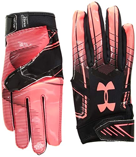 (Under Armour Men's F6 Football Gloves, Black (003)/Neon Coral, Large)