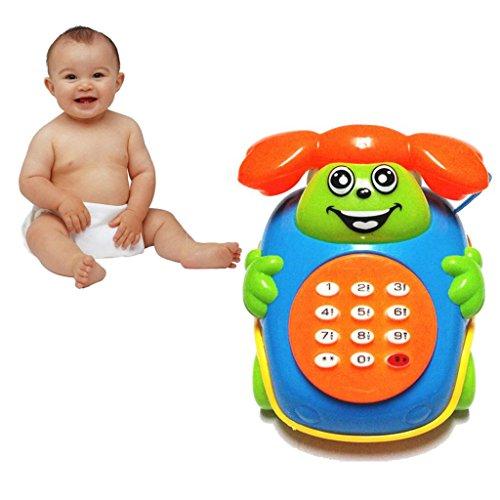 Longay Cute Baby Gift Simulation Music Telephone Cartoon Telephone Toy Educational Developmental Kids Toy Birthday Gift Random Color (A)
