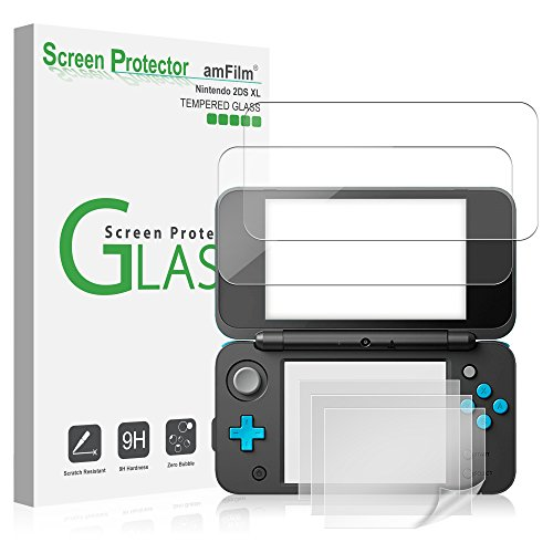 Nintendo 2DS XL Screen Protector Pack, amFilm [2 GLASS Top, 4 PET Bottom] High Quality Screen Protectors for New Nintendo 2DS XL 2017 (6 Protectors in Package) from amFilm