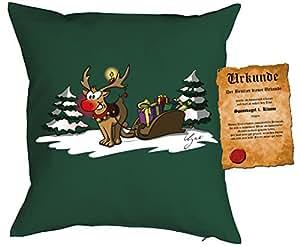 Cojín con relleno–Navidad diseño: Rudolph the rednosed Reindeer–Juego con certificado–by TEP039–Color: Verde Oscuro––Regalo Navidad