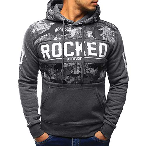 Forthery Men's Fleece Hooded Pullover Sweatshirts Winter Warm Coat Jacket Outwear(Dark Gray,US Size M = Tag L)