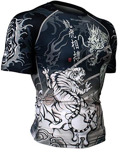 Btoperform Mens Womens MMA Running Printed Compression Shirt Short Sleeve Top Fx-302k