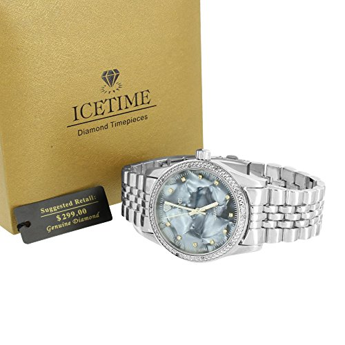 Mens Real Diamond Watches Icetime MOP Mother Of Pearl Dial Jubilee Design Band (Dial Men Mop)