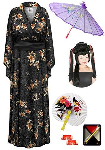 Black Crush Velvet Geisha Robe Plus Size Costume - Dlx Red Ribbon Wig Kit 3x/4x