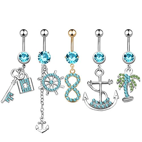 Stainless Steel Key Dangle Ring - 5Pcs Dangle Belly Button Rings Set Navel Surgical Stainless Steel 14G Body Piercing Jewelry