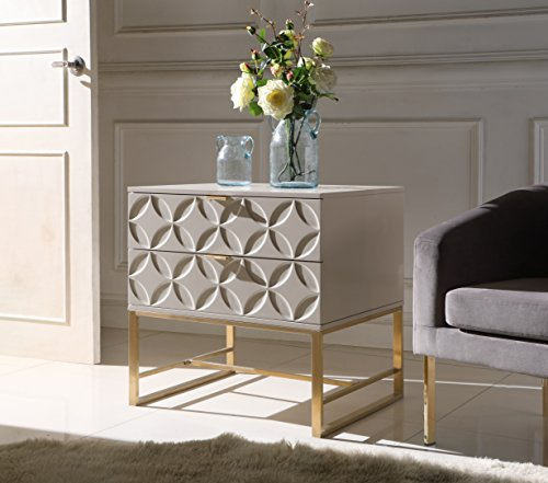2 Drawer Contemporary End Table - Iconic Home Mantau Nightstand Side Table with 2 Self Closing Lacquer Drawers Brass Finished Stainless Steel Frame Base, Modern Contemporary, Beige
