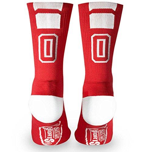 Custom Team Number Crew Socks | Athletic Socks by ChalkTalkSPORTS | Red | 00